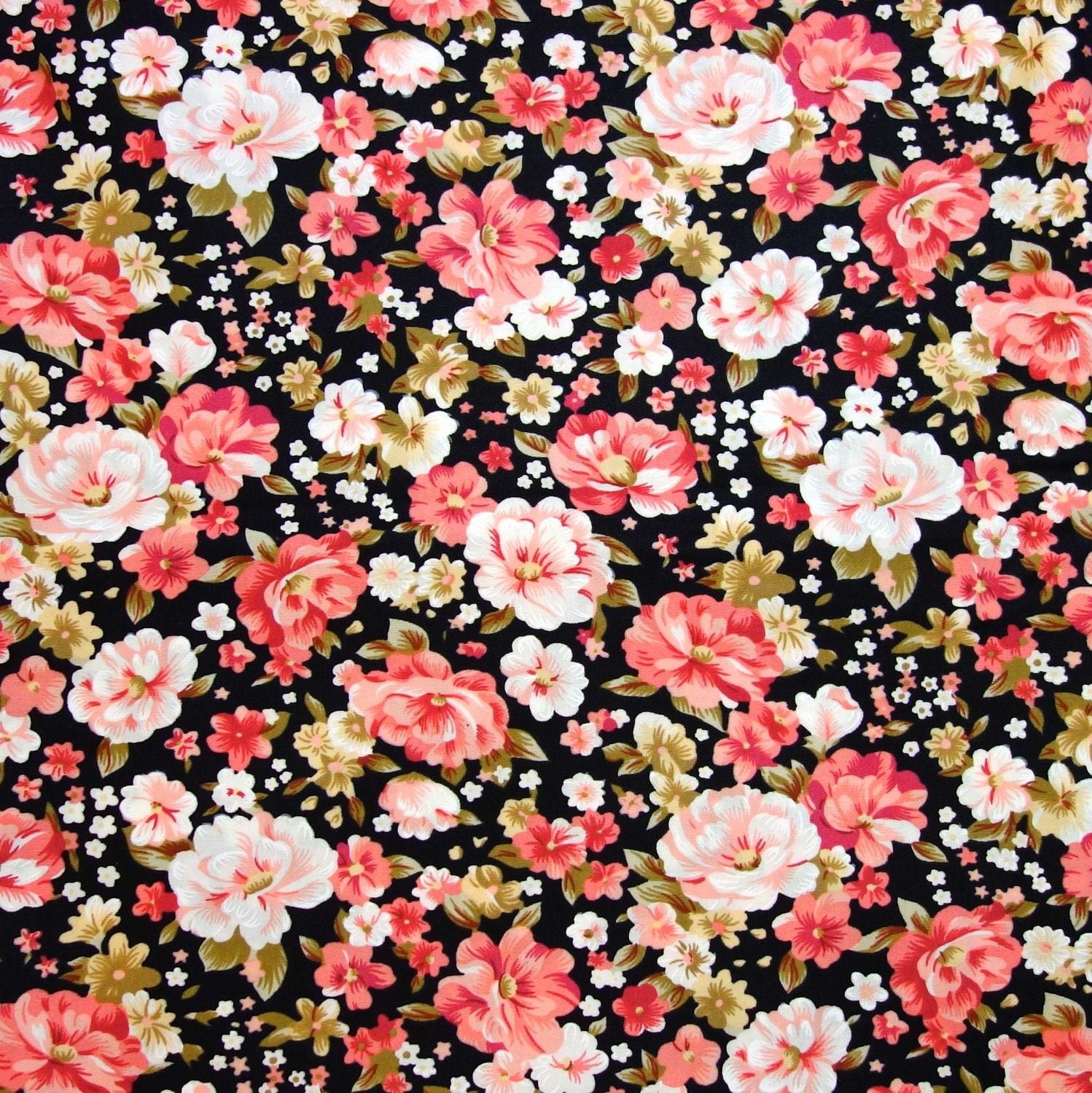 black floral fabric red and pink roses on black cotton
