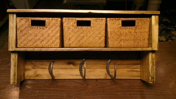 Items Similar To Rustic Coat Rack With Storage Shelf On Etsy