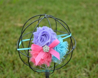 shabby headband in pink, turquoise and lavender
