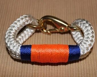 Customized Maine Rope Bracelet - White Rope -  UF - Orange / Blue - Made to Order - GO GATORS