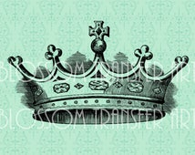 Crown Images - Trasfer on burlap - Iron on Fabric, pillows, totes - Download for papercrafts, invitations, cards - 1692