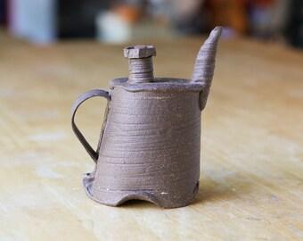 Dark Brown Ceramic Teapot, Hand Built Teapot, Handmade Teapot,