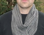 Warm, soft, flannel tube scarf. Made for men or women.    Grey with navy plaid.