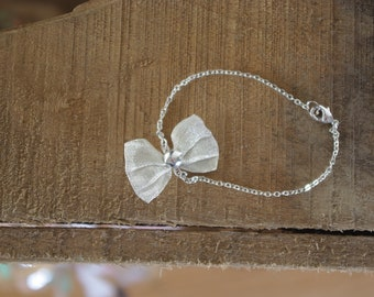 Silver Bow metal bracelet