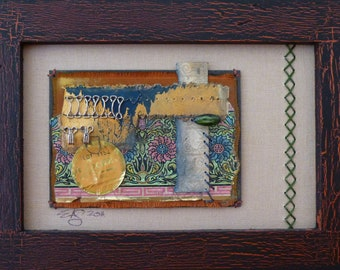 Fabrique-Framed Mixed Media art collage on paper
