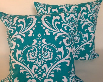 """SET of 2 turquoise damask accent throw pillows with zippers, 14 X 14"""""""