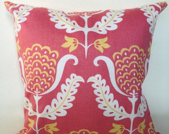Coral and yellow floral accent pillow cover with zipper, 18x18.""