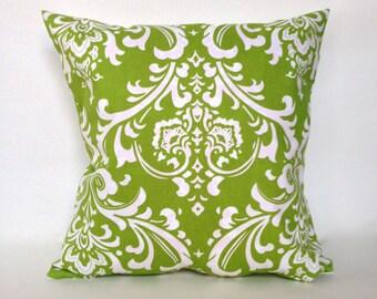 """Green damask accent pillow with zipper 14 x 14"""""""