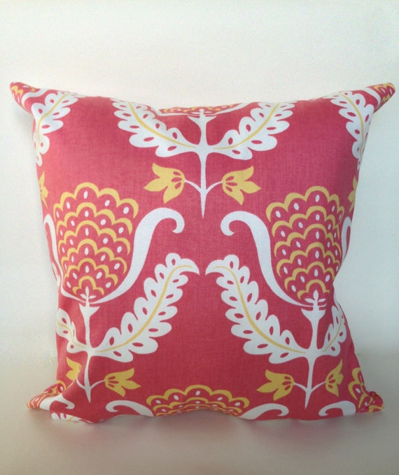 Coral and yellow floral accent pillow cover with by JaimeInteriors