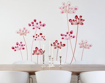 Astral Flowers - Wall Decal - Coordinated Colors - H37 x W43