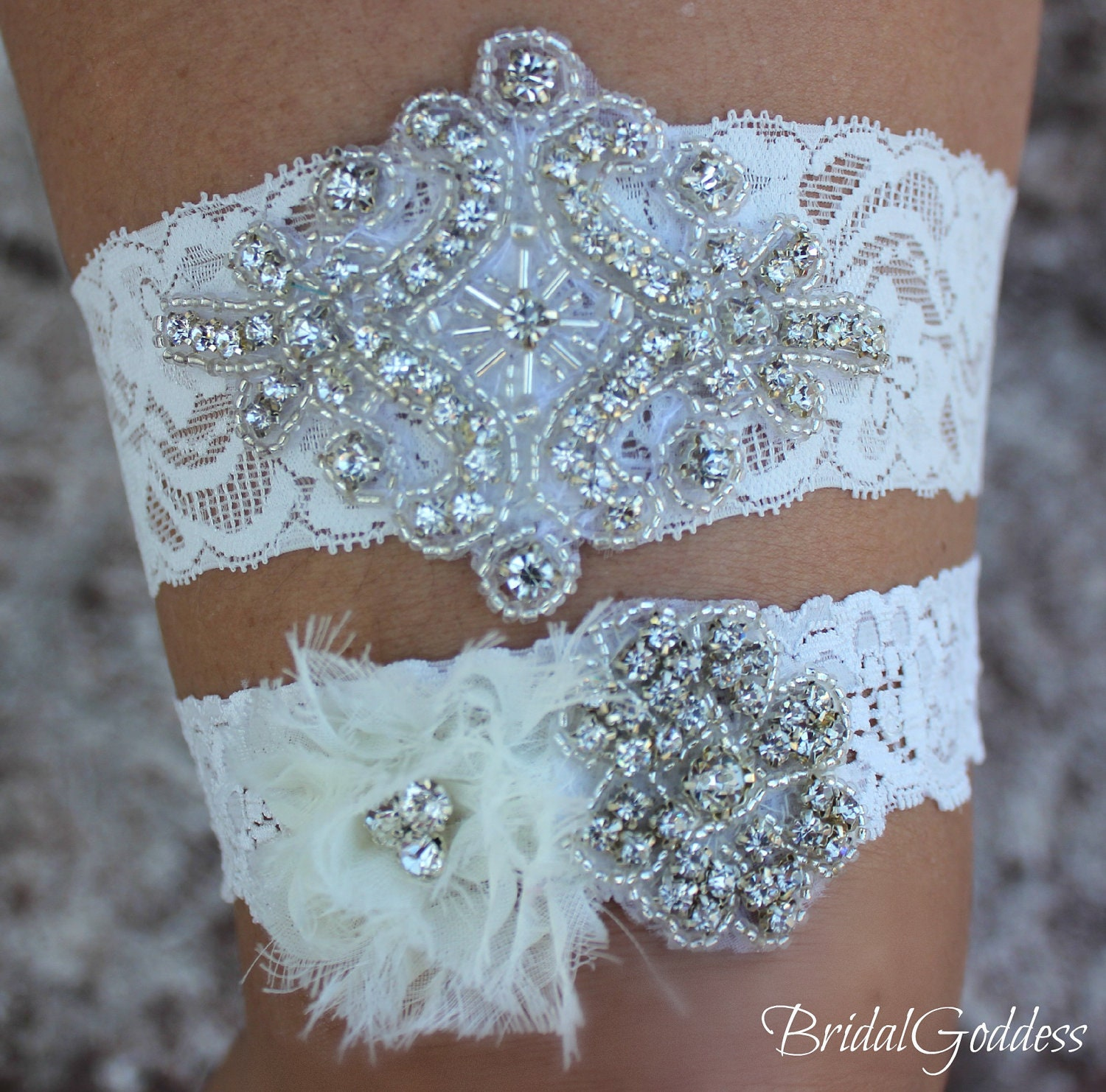 Wedding Garter Set Toss Garter Bridal Garter By BridalGoddess