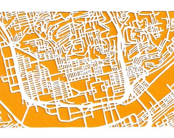 Northside Pittsburgh -- cut paper map (original)