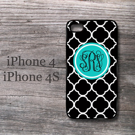 Personalized  iPhone Case Turquoise  Monogram black damask Iphone 4 4S Cover