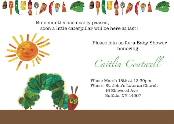 20 best images about hungry caterpillar baby shower on pinterest, Baby shower invitations