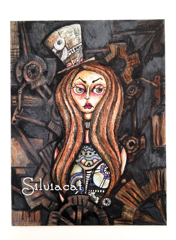 "Original Silviacat art ""Steampunk girl"" - original painting by SilviacatArt steampunk buy now online"