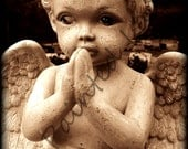 Sepia tone cemetary child angel 5x7 photo print (8x10 also available)