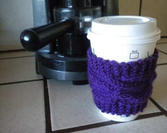 Hand Knit Cabled Coffee Cup Cozy, Sleeve - Eggplant