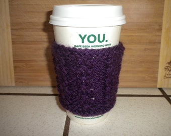 Hand Knit Cabled Coffee Cup Cozy, Sleeve - Purple