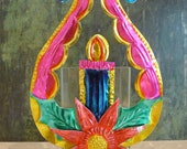 Large Vintage Mexican Tin Wreath & Candle Christmas Decoration