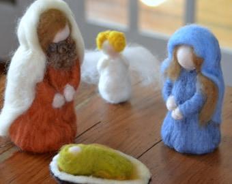 Needle felted Nativity set made to order