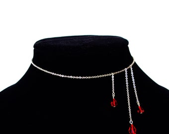 Vampire illusion blood drip choker necklace in stainless conversation peice