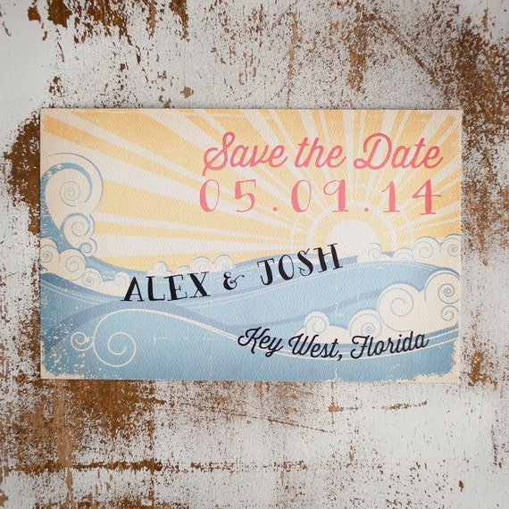 Beach Save the Date, Save the Date card - The Wave - Rustic Save the Date, vintage style, rustic wedding, beach wedding, eco friendly, sea