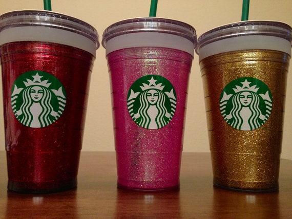 Starbucks glitter tumbler, grande 16 oz (cold tumbler).