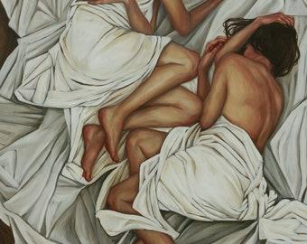 Original Oil Painting, two women, white fabric