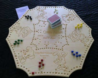Critter Pursuit A New Card & Marble Wooden 2-6 player Board Game inspired by Peg - Joker