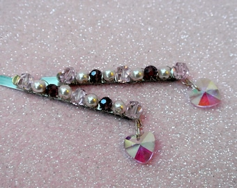 Crystal Hair Pins with Pink Dangling Hearts