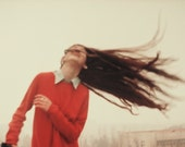 SALE! Color Print Photography, Portrait Photography, Wall Decor, Tender Woman Photography, Catching the Wind, Red, White, Brown, Beige