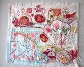 Hand-stitched Fiber Collage with Upcycled Vintage Embroidery and a Bird
