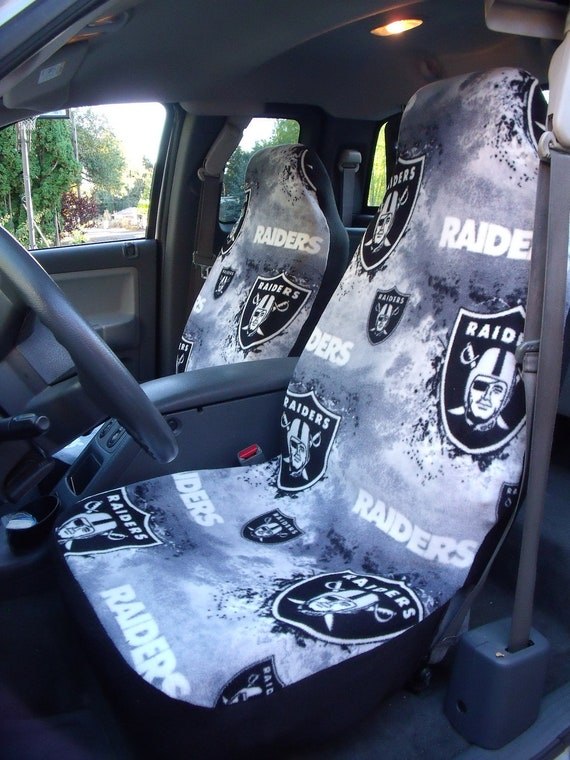 1 set oakland raiders print custom made car seat covers. Black Bedroom Furniture Sets. Home Design Ideas