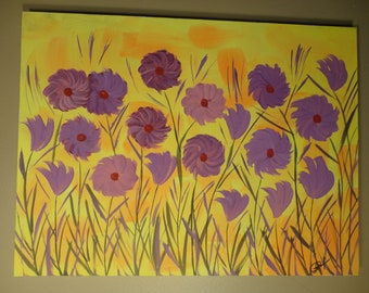 ORIGINAL Painting Contemporary Fine Art Flowers Modern Acrylics Abstract Floral 'Sunny Summer Day'