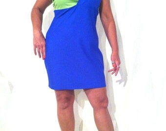 Blue and Green One Shoulder Dress - Sz Lg  B0012