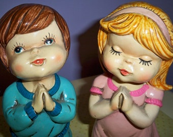 Rare Vintage 1970's Boy and Girl Praying Figurines Made in Japan by Star Hand Painted Good Used Condition