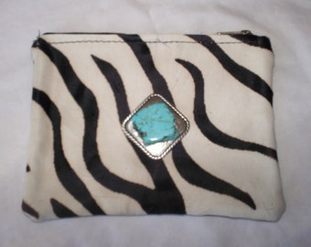 Zebra Cowhide w' Silver Concho and Turquoise