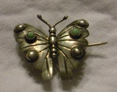 Sterling & Turquoise Taxco Butterfly Pin
