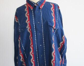 Blue Aztec Style Vintage Shirt