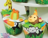 Print Your Fiesta digital party set - Jungle Party Cupcake Kit - cupcake wrappers, circle toppers, monkey, tucan, snake, frog, lizard
