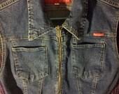 OUT stretch. Denim jean vest zip up. 1990's grunge punk hipster