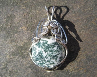 Moss Agate Wire-Wrapped in Argentium Silver
