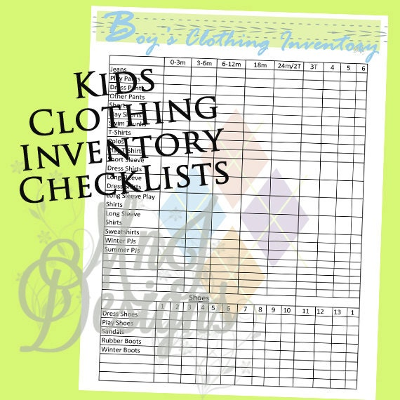 Kids Clothing INVENTORY Set-PDF Closet Organization Boy