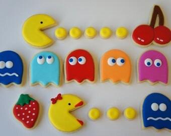 Pac-Man and Ms Pac-Man sugar cookies