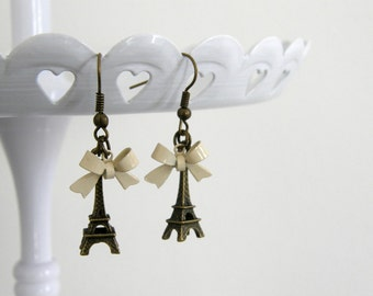 Eiffel Tower 3D Earrings with Cream Bow, French Earrings, Romantic Jewelry, Eiffel Tower Jewelry