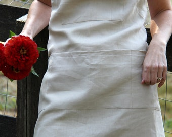 Classic Full Linen Apron -- Pure Natural Fabric Adjustable