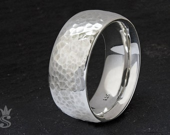 Wide hammered ring in sterling silver. VERY comfortable fit. Mens jewelry. Wedding, engagement.