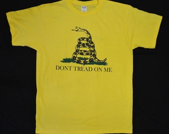 T-Shirt: Don't Tread on Me with Snake, in Yellow, Sizes S-3XL