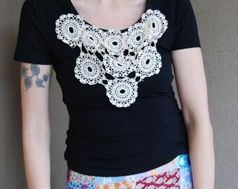 Black lace tshirt