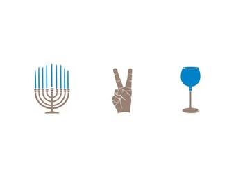 Set of 4 / Letterpressed Happy Hanukkah Cards